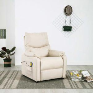 Cadeira de massagens para TV reclinável tecido creme - PORTES GRÁTIS