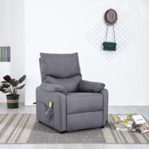 Cadeira de TV/massagens reclinável tecido cinzento-claro - PORTES GRÁTIS