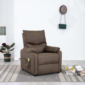 Cadeira de massagens/TV reclinável tecido castanho - PORTES GRÁTIS