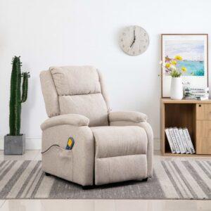 Cadeira de massagens reclinável elétrica tecido creme - PORTES GRÁTIS