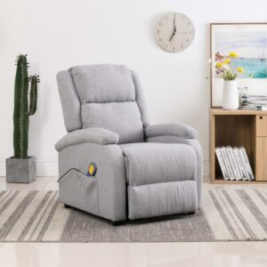 Cadeira de massagens reclinável elétrica tecido cinzento-claro - PORTES GRÁTIS