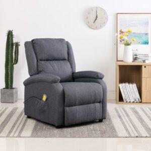Cadeira massagens reclinável elétrica tecido cinzento-escuro - PORTES GRÁTIS