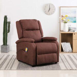 Cadeira de massagens reclinável elétrica tecido castanho - PORTES GRÁTIS