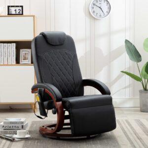 Cadeira de massagens reclinável TV em couro artificial preto - PORTES GRÁTIS