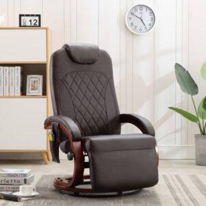 Cadeira massagens para TV reclinável couro artificial castanho - PORTES GRÁTIS