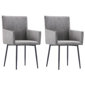 Cadeiras de jantar com apoio de braços 2 pcs veludo cinzento - PORTES GRÁTIS
