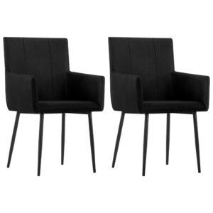 Cadeiras de jantar com apoio de braços 2 pcs tecido preto - PORTES GRÁTIS