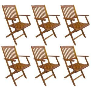Cadeiras de exterior dobráveis 6 pcs madeira de acácia maciça - PORTES GRÁTIS