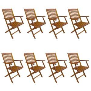 Cadeiras de exterior dobráveis 8 pcs madeira de acácia maciça - PORTES GRÁTIS