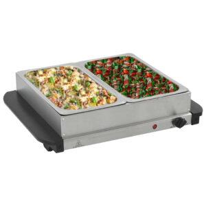 Buffet quente 200 W 2x2,5 L aço inoxidável - PORTES GRÁTIS