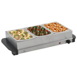 Buffet quente 200 W 3x1,5 L aço inoxidável - PORTES GRÁTIS
