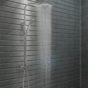 Conjunto duche com dois chuveiros e termostato aço inoxidável - PORTES GRÁTIS