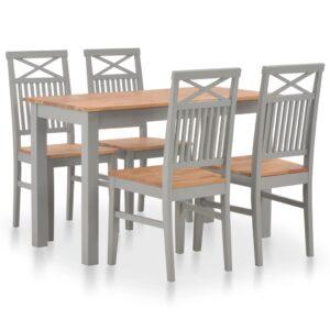 5 pcs conjunto de jantar madeira de carvalho maciça - PORTES GRÁTIS