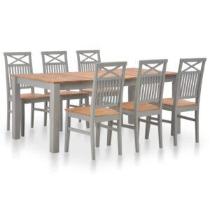 7 pcs conjunto de jantar madeira de carvalho maciça - PORTES GRÁTIS