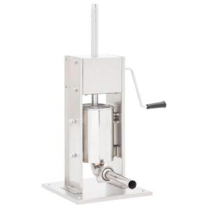 Máquina de enchidos manual 3 L aço inoxidável prateado - PORTES GRÁTIS