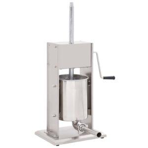 Máquina de enchidos manual 10 L aço inoxidável prateado - PORTES GRÁTIS