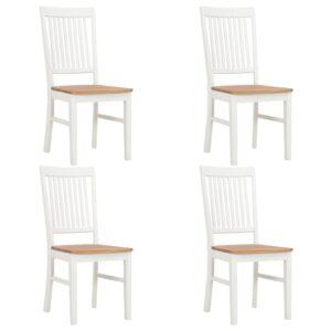 Cadeiras de jantar 4 pcs madeira de carvalho maciça branco - PORTES GRÁTIS