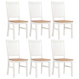 Cadeiras de jantar 6 pcs madeira de carvalho maciça branco - PORTES GRÁTIS