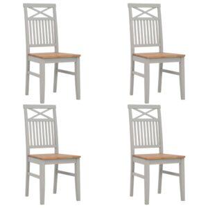 Cadeiras de jantar 4 pcs madeira de carvalho maciça cinzento - PORTES GRÁTIS