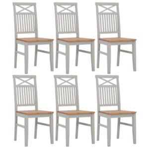 Cadeiras de jantar 6 pcs madeira de carvalho maciça cinzento - PORTES GRÁTIS