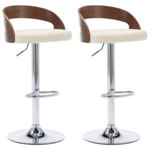 Cadeiras de bar 2 pcs couro artificial e madeira curvada creme - PORTES GRÁTIS