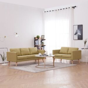 2 pcs conjunto de sofás tecido verde - PORTES GRÁTIS