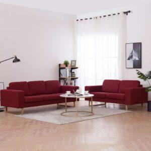 2 pcs conjunto de sofás tecido vermelho tinto - PORTES GRÁTIS