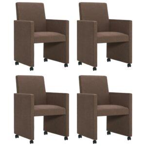 Cadeiras de jantar 4 pcs tecido castanho - PORTES GRÁTIS