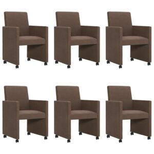 Cadeiras de jantar 6 pcs tecido castanho - PORTES GRÁTIS