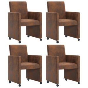Cadeiras de jantar 4 pcs camurça artificial castanho - PORTES GRÁTIS