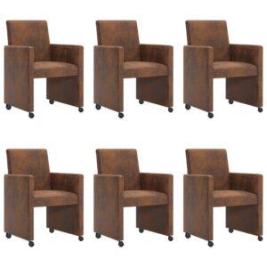 Cadeiras de jantar 6 pcs camurça artificial castanho - PORTES GRÁTIS