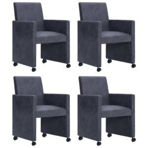 Cadeiras de jantar 4 pcs camurça artificial cinzento - PORTES GRÁTIS