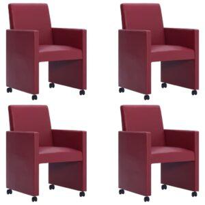 Cadeiras de jantar 4 pcs couro artificial vermelho tinto - PORTES GRÁTIS