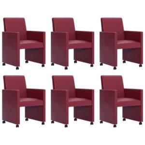 Cadeiras de jantar 6 pcs couro artificial vermelho tinto - PORTES GRÁTIS
