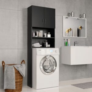 Armário máquina de lavar roupa 64x25,5x190 cm aglomerado preto - PORTES GRÁTIS