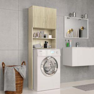 Armário máquina lavar roupa 64x25,5x190 cm aglomerado carvalho - PORTES GRÁTIS