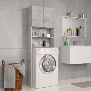 Armário máquina de lavar roupa 64x25,5x190 cm aglomerado cinza - PORTES GRÁTIS