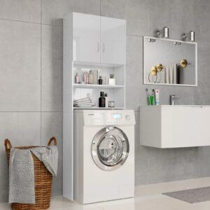 Armário máq. de lavar 64x25,5x190cm aglomerado branco brilhante - PORTES GRÁTIS