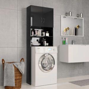 Armário máq. de lavar 64x25,5x190cm aglomerado preto brilhante - PORTES GRÁTIS