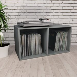 Caixa arrumação discos vinil 71x34x36 cm contraplacado cinzento - PORTES GRÁTIS