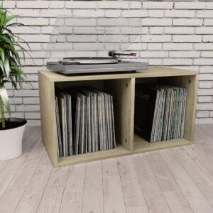 Caixa arrumação discos vinil 71x34x36 cm contraplacado carvalho - PORTES GRÁTIS