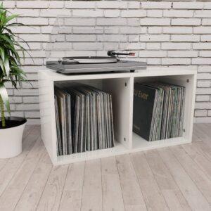 Caixa discos vinil 71x34x36 cm contraplacado branco brilhante - PORTES GRÁTIS