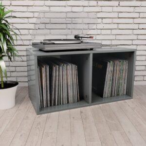 Caixa discos vinil 71x34x36 cm contraplacado cinzento brilhante - PORTES GRÁTIS