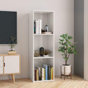 Estante/móvel de TV 36x30x114 cm contraplacado branco brilhante - PORTES GRÁTIS