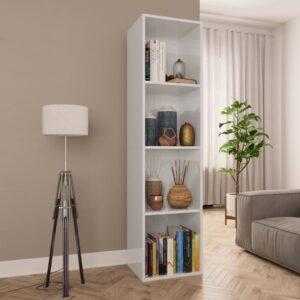 Estante/móvel de TV 36x30x143 cm contraplacado branco brilhante - PORTES GRÁTIS