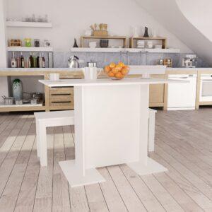 Mesa de jantar 110x60x75 cm contraplacado branco - PORTES GRÁTIS