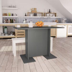 Mesa de jantar 110x60x75 cm contraplacado cinzento - PORTES GRÁTIS