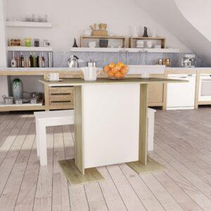 Mesa de jantar 110x60x75 cm contrap. branco e carvalho sonoma - PORTES GRÁTIS