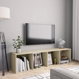 Estante/móvel de TV 143x30x36 cm contraplacado carvalho sonoma - PORTES GRÁTIS