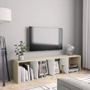 Estante/móvel TV 143x30x36 cm contrap. branco e carvalho sonoma - PORTES GRÁTIS